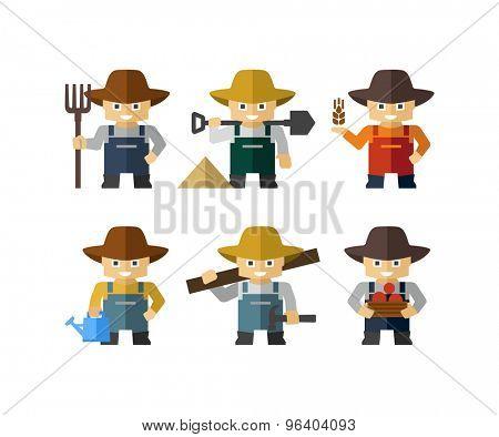Farmer Cartoon Character Figures With Tools