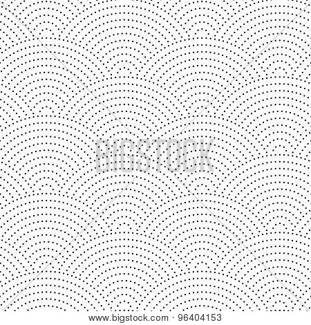 Seamless vintage wavy background. The black dots on a white background.