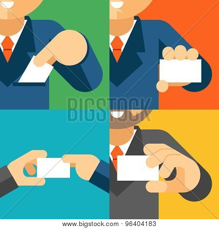 Businessman holding visiting card template in his hand