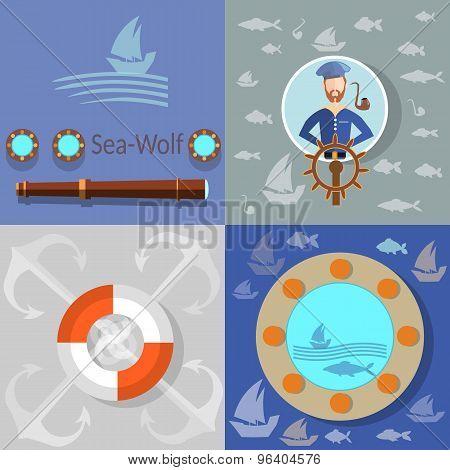Boat Trip, Ocean Cruise, Lifebuoy Sailor, Anchor, Fish, Boat, Flat Vector Icons