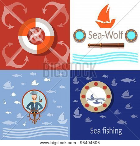 Sea Adventures, Sailor, Anchors And Steering Wheel, Life Buoy, Fish, Fishing,vector Icons