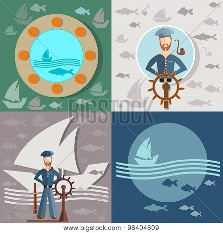 Old Man And The Sea, Sailor, Ships, Fishing, Life Buoy, Steering Wheel, vector illustration