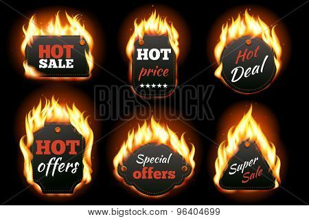 Vector fire labels set