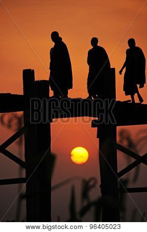 Monks on U Bein Bridge at Sunset, Mandalay, Burma