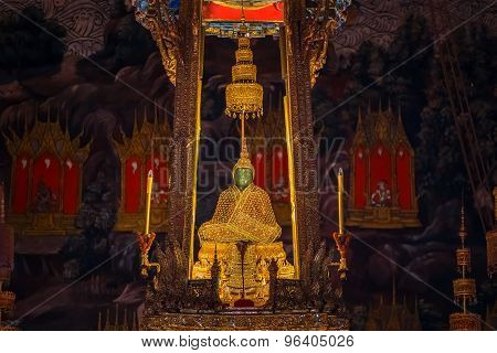 The Emerald Buddha in Wat Phra Kaew in Bangkok Thailand