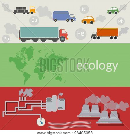 Ecology And Pollution Of The World Vector Concept