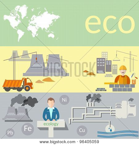 Ecological Concept: Pollution Of The World, Green Energy, Plants And Factories,vector banners