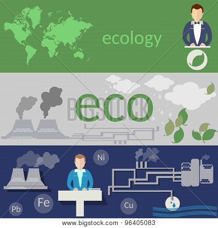 Ecology,world Pollution, Environmental Conference, Waste Of Factories And Plants, Vector Banners