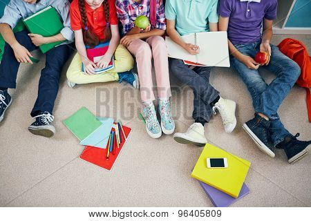 Group of schoolmates in casualwear sitting on the floor