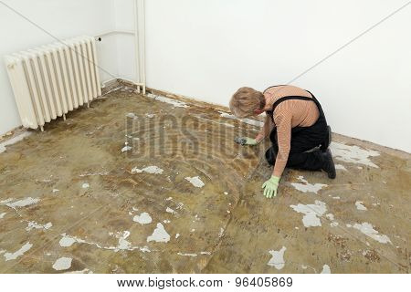 House Work, Woman Cleaning Floor