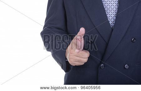 Business Man Showing A Success Sign Gesture.