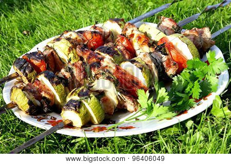 Turkey Shashlik Barbeque With Vegetables And Parsley