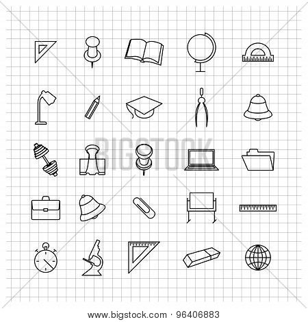 School Set Of Icons, Vector Illustration.