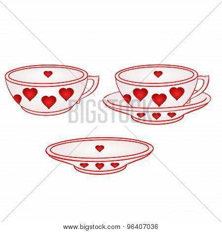 Cup With Saucer With Red Hearts Vector