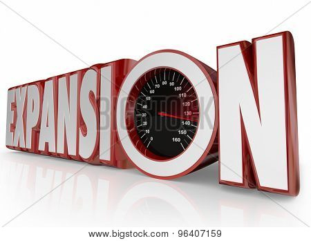Expansion word with speedometer of growth, increase, extension and opening of new business or company locations overseas in international or global locations