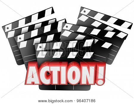 Action word on movie clapper boards to illustrate directing, acting, producing or making a film or theatrical event for entertainment and enjoyment before an audience