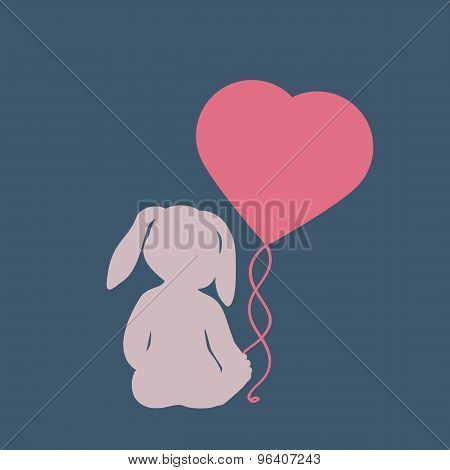 Silhouette of child-rabbit