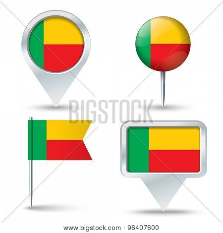Map pins with flag of Benin - vector illustration