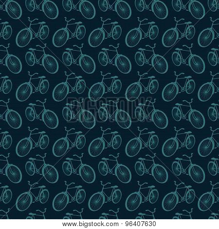 Sporty tourist seamless background with bicycles
