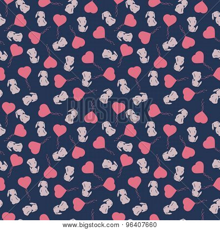 Seamless pattern with cute cartoon rabbit and heart balloon