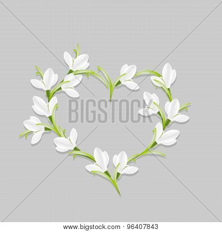 Floral heart with snowdrops