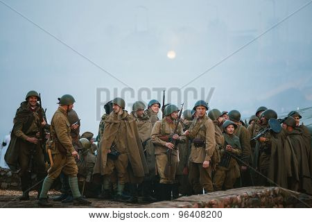 Unidentified reenactors dressed as Soviet soldiers during events