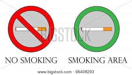 No Smoking Sign & Smoking Area Sign