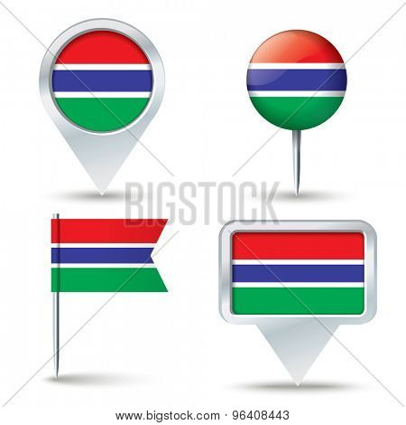 Map pins with flag of Gambia - vector illustration