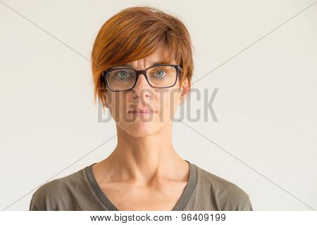 Waist Up Portrait Of Lady In Neutral Background