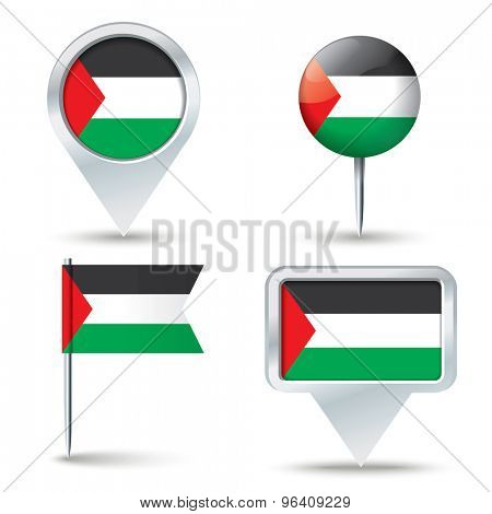 Map pins with flag of Gaza Strip - vector illustration