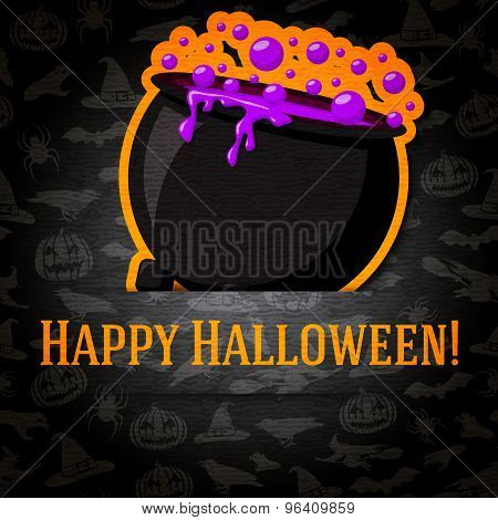 Happy halloween greeting card with cauldron and potion sticker cut from the paper.