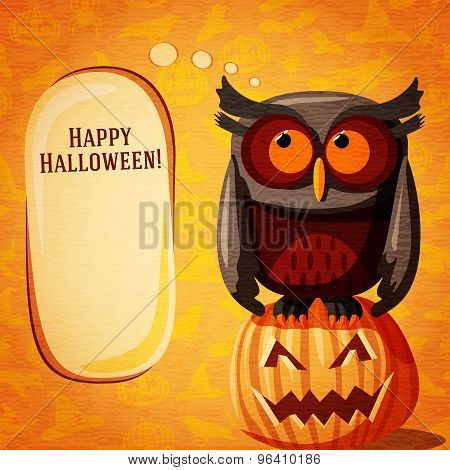 Halloween cute banner on the craft paper texture with brown owl and speech bubble.