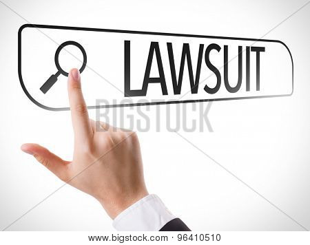 Lawsuit written in search bar on virtual screen