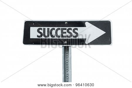 Success direction sign isolated on white