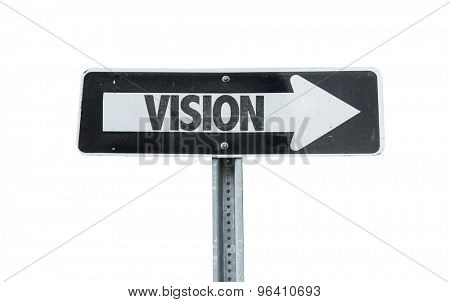 Vision direction sign isolated on white