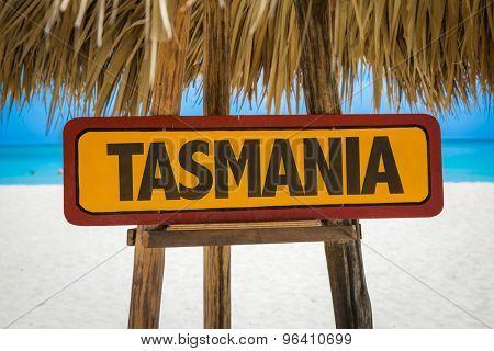 Tasmania sign with beach background