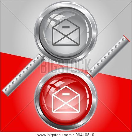 mail minus. Vector magnifying glass.