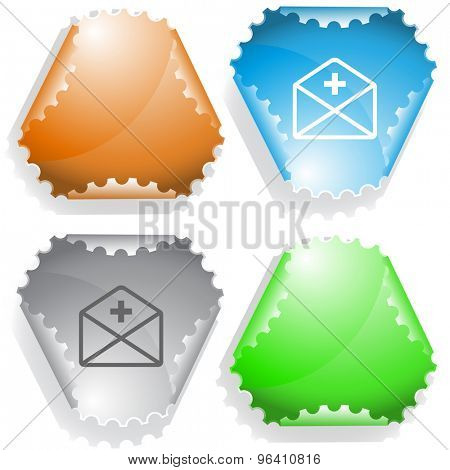 mail plus. Vector sticker.
