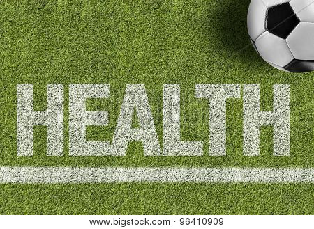 Soccer field with the text: Health