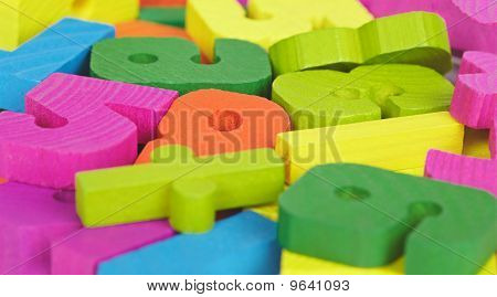 Colored Wooden Letters And Numbers