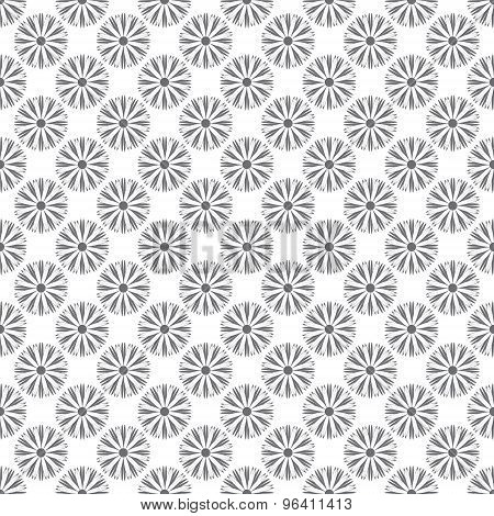 Seamless Pattern Whit Gray Flowers On A White Background