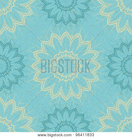 Floral retro wallpaper with grunge effect.