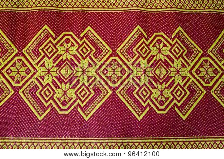 Fabric Texture Red Brown, Terracotta. Painting On Silk Cloth. Thai Painting Pattern Of Golden Brown