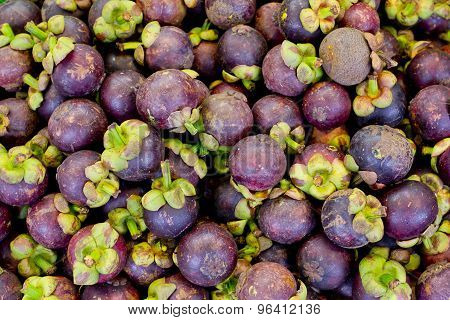 Colorful Of Fresh Mangosteen Background