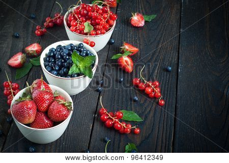 Bowls With Different Berries