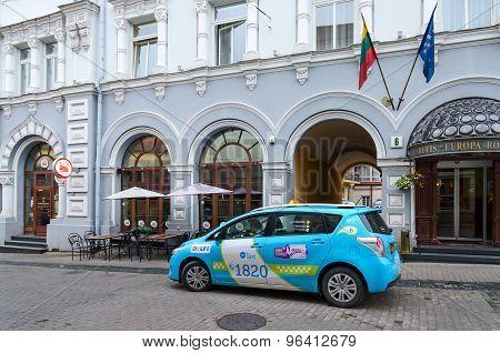 Taxi Is On Street Ausros Vartai Near Four- Star Hotel Europe Royal Vilnius, Lithuania