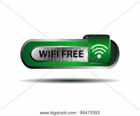 Wifi free button green sign vector