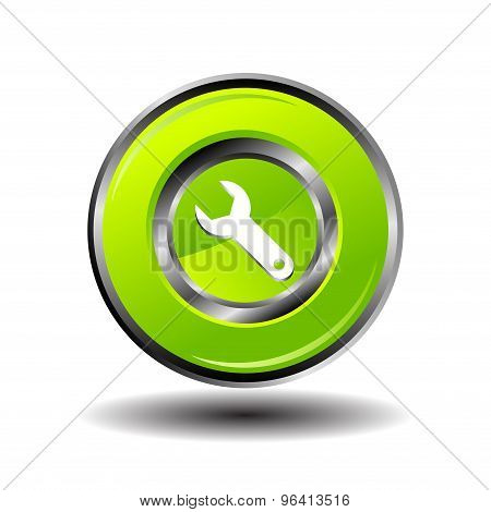 Wrench icon setting round button vector
