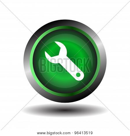 Wrench sign vector. Wrench icon setting round button vector