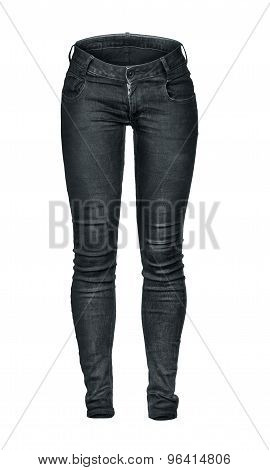 Black Blank Jeans Isolated On White Background